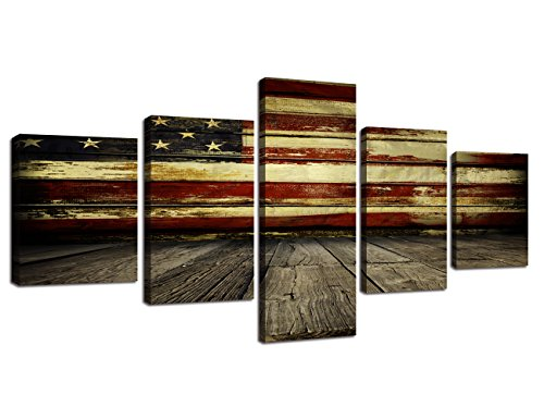 (Wall Art Decor Pictures for Living Room Canvas Print Retro Vintage American USA Flag and Wooden Modern Painting 5pcs Framed Posters Bedroom Giclee Print Gallery Wrap Artwork Stretched(50''W x 24''H))