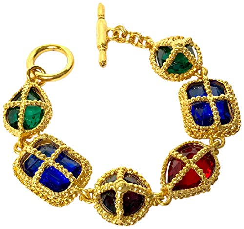 Kenneth Jay Lane, Antique Gold Necklace with Multi Color Gemstones, 15