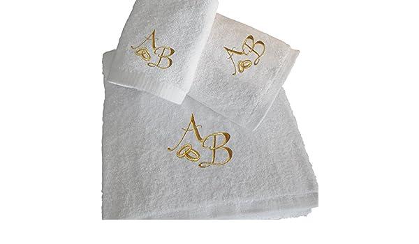 Top Calidad personalizado oro boda aniversario de regalo de baño - juego de toallas de baño, toalla de mano, toalla de invitados: Amazon.es: Hogar