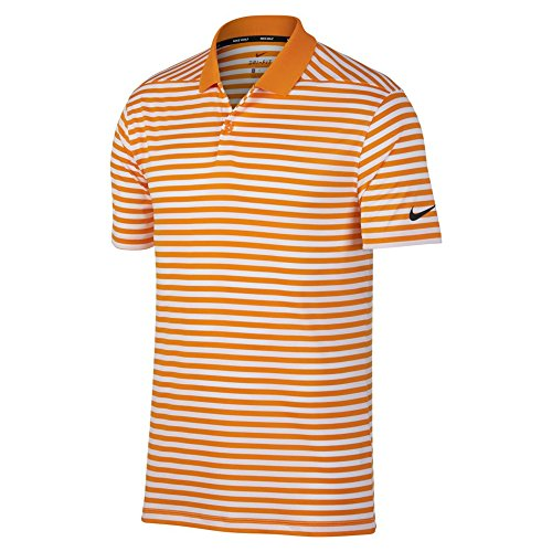 Nike New DRI FIT Victory Stripe Golf Polo Bright Ceramic/White/Black Medium ()