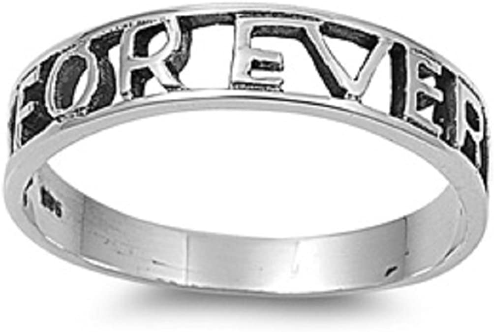 Princess Kylie 925 Sterling Silver Block Font Forever Word Ring