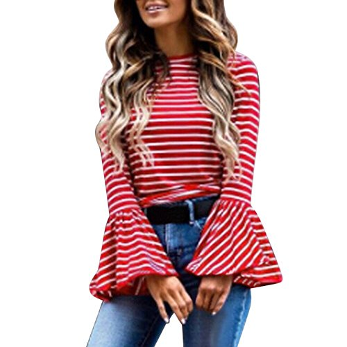 (Casual Fashion Women O Neck Stripe Pullover,Flare Long Sleeve Office T Shirt Tops,Lady Cosplay Costume (X-Large, Red) )