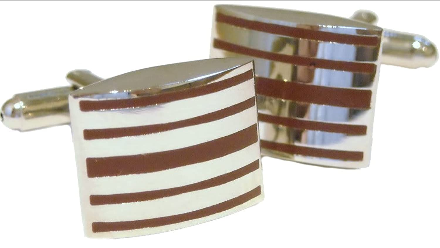Bold Maroon Mulberry Striped Enamel & Silver Rhodium Plated Cufflinks Cufflinks.Direct