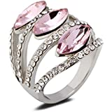 18K White Gold Plated Pink Crystal Ring Fashion Jewelry CZ Rhinestone Gift New LOVE STORY (9#)