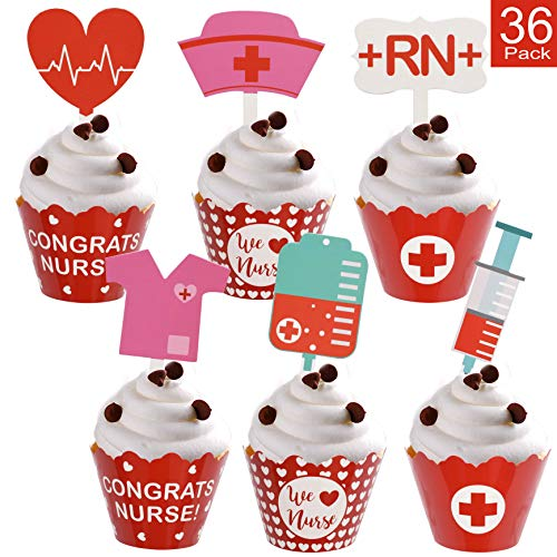 Nurse Graduation Cupcake Wrappers and Toppers Adorable Cupcake Decorations for Nurse Graduation Party Supplies - 36 Pack -