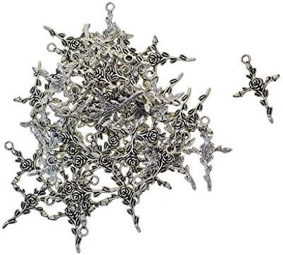 P Prettyia 約100個 DIY ジュエリー チベットシルバー ローズ フローラル クロス チャーム ペンダント