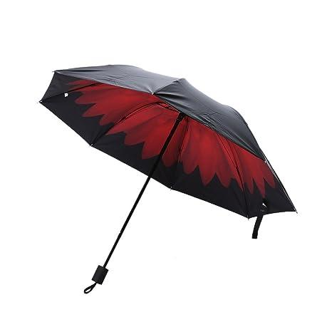 Hatrita-J Flores 3D Sun Paraguas plegable impreso vinilo sombrilla anti UV PARAGUAS paraguas mujer