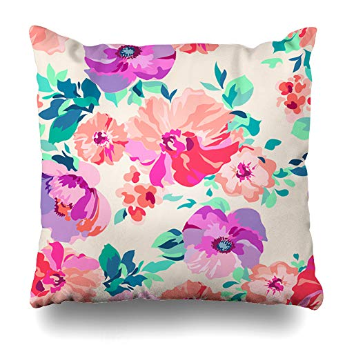 Ahawoso Throw Pillow Cover Leaf Watercolor Pattern Romantic Floral Purple Pink Summer Rose Bright Daisy Drawn Design Zippered Pillowcase Square Size 18 x 18 Inches Home Decor Cushion Case