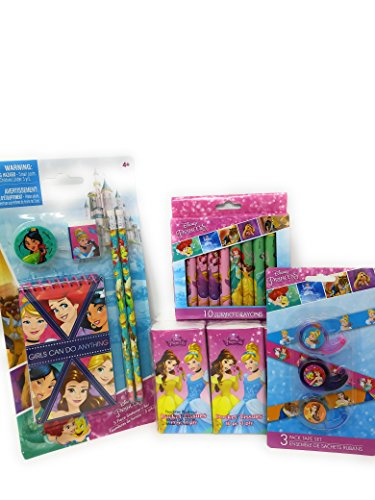 Back to School Toddler Pre-school Elementary School Supplies Pencils Tissue Tape Crayons Mini Notebook Princess Little Mermaid Snow White Beauty (4 Piece set) (Crayons Tissue)