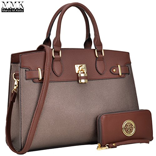 Leather Kelly Purse Handbag (MMK collecton Women Fashion Handbag with Matching wallet(FN)~ Classic Women Purse & Handbag for Women~Signature fashion Women Designer Purse ~ Perfect Women Satchel handbag Set(03-6876-COFFEE/BROZEN))