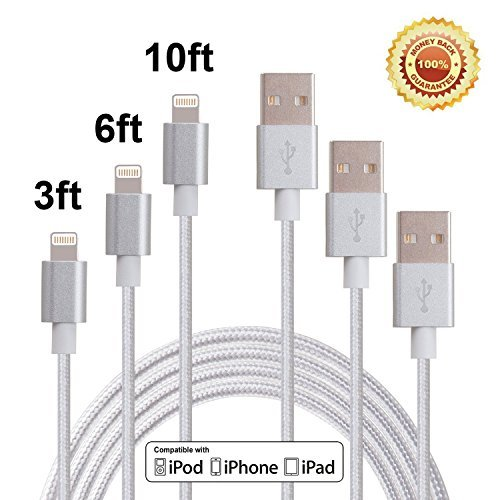 Red Gem 3Pack 3FT 6FT 10FT Extra Long Nylon Braided 8Pin to USB Power Cable Cord with Aluminum Heads for iPhone 6/6s/6 Plus/6s Plus/5/5c/5s, iPad 4 Mini Air iPod Nano 7 iPod Touch 5 (Sliver) (Braided Power Cord compare prices)
