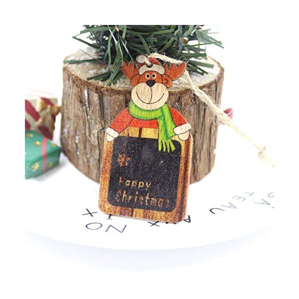 Set di decorazioni per alberi di Natale,12 pezzi in legno carino ornamenti per lavagna con pendente pendente con corde,3 pollici Modello di pupazzo di neve retrò di Babbo Natale per la decorazione 5 spesavip