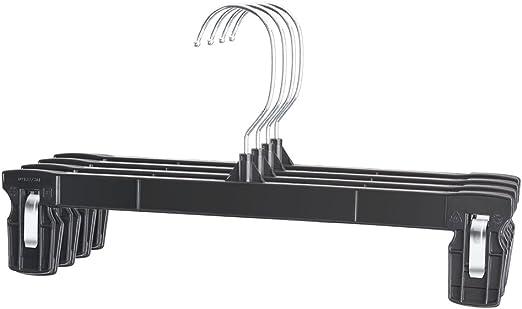 "50 pcs Pinch Grip Clip Hangers 12"" Black For Pants Skirts Plastic Swivel Hook"