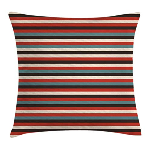 Geometric Style Benches - Ambesonne Striped Throw Pillow Cushion Cover, Vintage Retro Pattern Geometric 60's Style Red Black Teal and Beige Colored Print, Decorative Square Accent Pillow Case, 18