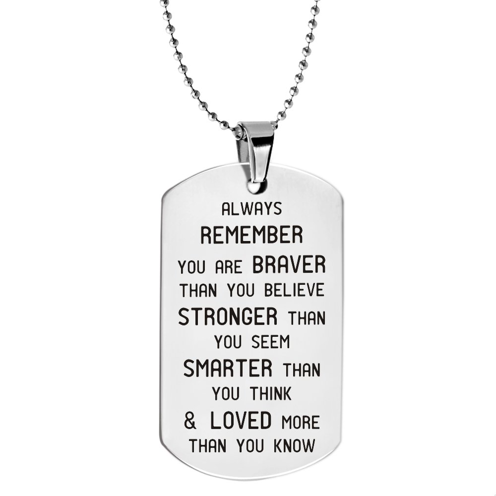 Paris Selection Always Remember You are Braver Than You Believe Inspirational Jewelry Necklace