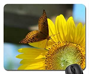 Butterfly Dancing on SunFlower Mouse Pad, Mousepad (Flowers Mouse Pad)