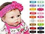 18pcs Baby Girl Toddler Detachable Alligator Clip Dots Bows Elastic Headbands