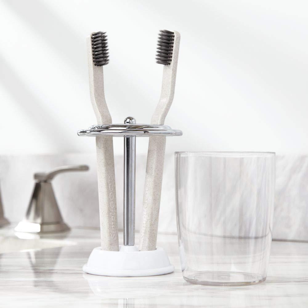 transparente//dorado lat/ón Ideal vaso para cepillo de dientes con tapa para el ba/ño mDesign Portacepillos con vaso para enjuague bucal 4 cepillos Soporte para cepillos de dientes de pl/ástico
