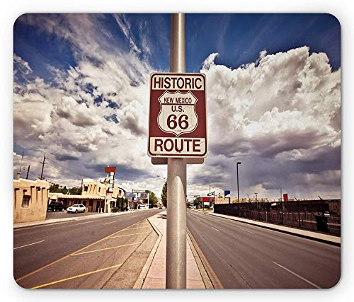 Americana Mouse Pad, Historic New Mexico U.S 66 Route Sign Roadway Driving Roadside Scenery, Standard Size Rectangle Non-Slip Rubber Mousepad, Dust Blue Multicolor