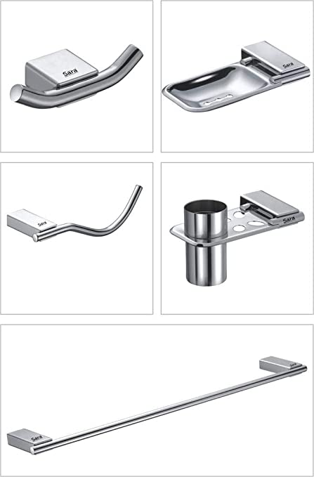 775a9bffdce04 Sara Amazon Series Set of 5 Pieces SS 304 Bathroom Accessories ...