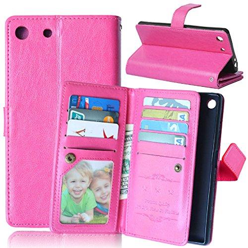 Wkae Case Cover Sony M5 Caso, Caja sólida de cuero en color de alta calidad de la PU de la cubierta del caso del soporte de la carpeta para Sony M5 ( Color : Red , Size : M5 ) Rose