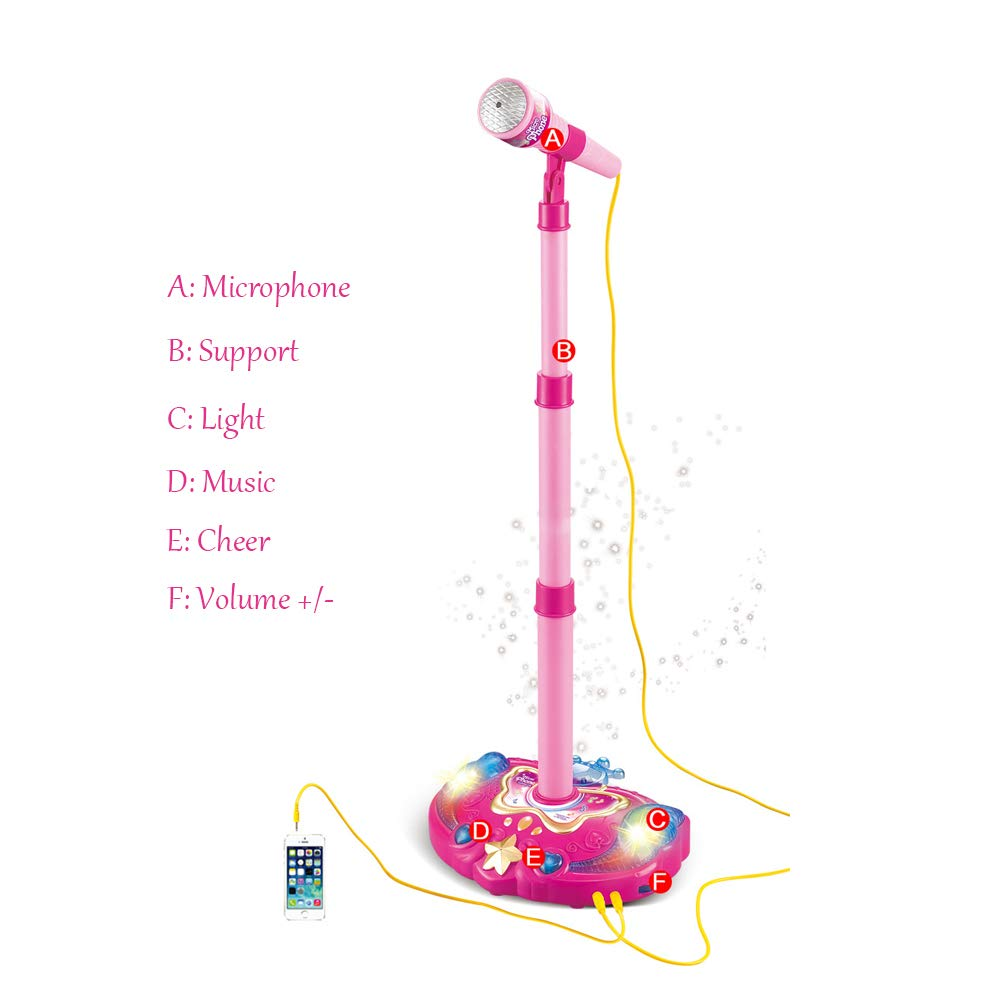 TECHLINK Kids Karaoke Microphone Toys Adjustable Stand Stage Microphones Toysexternal Music Flashing Lights Function Portable Children Girls Fun Gift,Pink by TECHLINK (Image #2)
