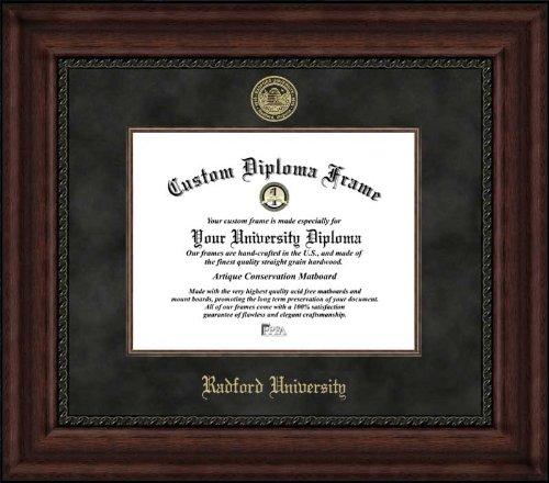 Radford University Highlanders - Embossed Seal - Suede Mat - Mahogany - Diploma - Frame Radford Diploma University