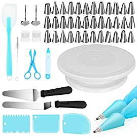"""Puroma 11 inch rotating cake turntable, 52 pcs stand spinner baking decorating supplies with 36 pcs icing tips, 3 icing smoother, 2 reusable pastry bags, cake server and more accessories (blue) 1 rotating cake turntable: with flexible axis, rotate smoothly in either clockwise or counterclockwise direction. Perfect for left-handed and right-handed decorators. 36pcs icing tips: various stainless steel piping nozzles for creating more different texture on the side or top of cakes. Two 12"""" reusable silicone pastry bags with silicone ice spatula support to decorate the cake or cupcakes hassle-free."""