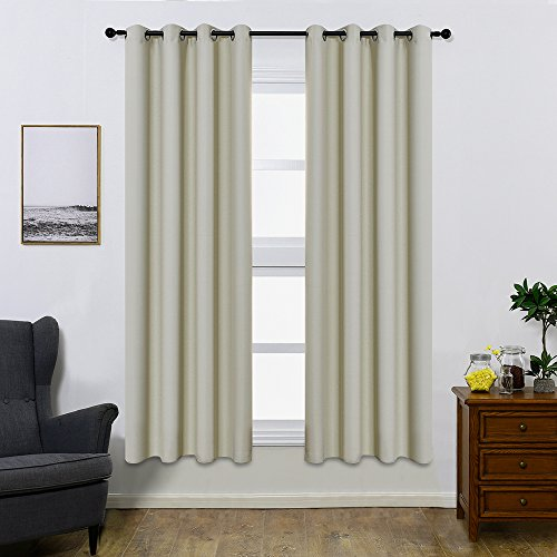Colokey Shade Insulation Curtain for Bedroom Living Room Balcony Curtain,Beige,52x84-inch,1 Panel
