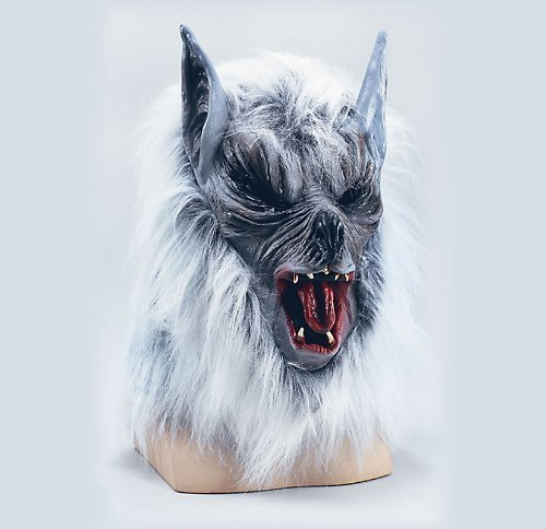 Grey Wolf Overhead Mask Killer Werewolf Scary Red