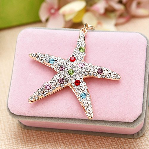 (Women's Gold Tone Crystal Rhinestone Pacific Coast Ocean Sea Starfish Star Hook Keychain (Multi-colored))