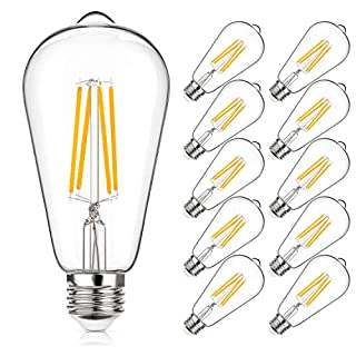 Vintage LED Edison Bulbs 60W Equivalent, 6W ST64 Antique Filament Light Bulbs, Non-Dimmable, 2700K Warm White, High Brightness, CRI 85+, E26 Medium Base, Clear Glass Bulbs (Pack of 10)