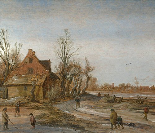 'Esaias Van De Velde A Winter Landscape ' Oil Painting, 24 X 28 Inch / 61 X 71 Cm ,printed On Perfect Effect Canvas ,this Reproductions Art Decorative Prints On Canvas Is Perfectly Suitalbe For Bedroom Artwork And Home Artwork And Gifts