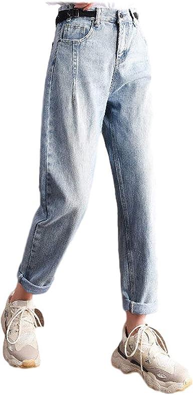 Señoras de la alta cintura Harén Pantalones Cintura Elástica Pantalones Rectos Pure Color Suelto