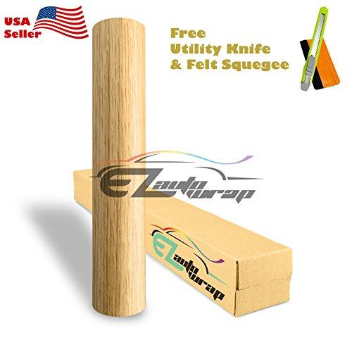Free Tool Kit EZAUTOWRAP 1393 Oak Wood Grain Viny Wrap Sticker Decal Car Furniture Cabinet 3MIL - 12