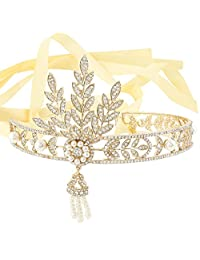 Ever Faith Bridal 1920's Style Art Deco Movie Inspired Leaf Simulated Pearl Headband Hair Tiara
