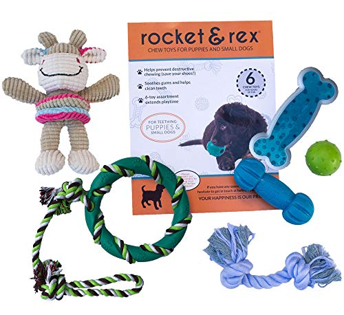- rocket & rex Puppy and Small Dog Breed Chew Toys. Soothes Gums and Teething Pain, Cleans Teeth, Lessens Destructive Chewing and Anxiety. Durable, Healthy, All-Natural Rubber and Cotton. 6-Pack.
