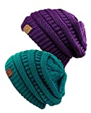 Unisex Trendy Warm Chunky Soft Stretch Cable Knit Slouchy Beanie Skully (Gift Set- Teal & Deep Purple)