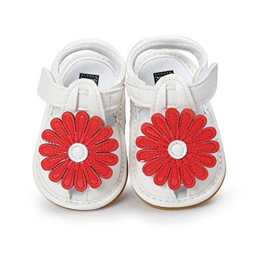 Itaar bebé niñas verano flores sandalias zapatos antideslizante suela de goma suave para bebés niños primera caminantes rojo rosso Talla:6-12 meses rosso