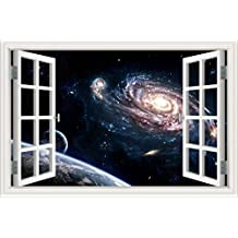 "3D Window View Wall Sticker Decal Starry sky Galaxy Stars Scenery Wallpaper Mural Art Vinyl 24""X36"""