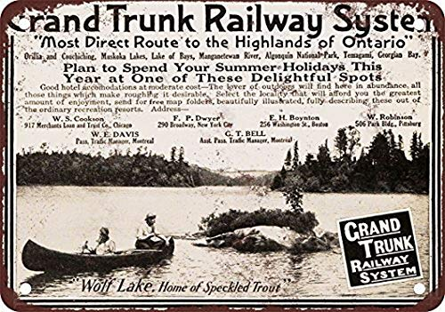 Ugtell 1910 Grand Trunk Railway Vintage Look Reproduction Metal Tin Sign 8X12 Inches ()