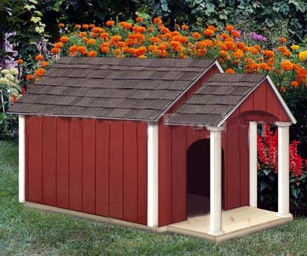 NEW Dog House / Pet Kennel Plans, Gable Roof Style with Porch, on Paper (Deluxe Patio Panel Pet Door)