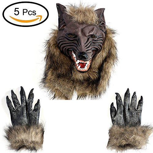 Toparchery 5pcs Natural Latex Wolf Masks & 5 Pair Werewolf Hands Wolf Claw Gloves Theater Halloween Costumes Fancy Dress Adult Accessory -