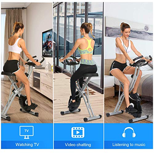 ANCHEER Folding Magnetic Exercise Bike, 10-Level Adjustable Stationary Bike - Tablet Stand & Large and Comfortable Seat by ANCHEER (Image #1)