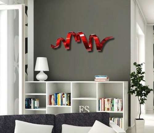 Amazon.com: Contemporary Red Metal Wall Sculpture - Modern ...