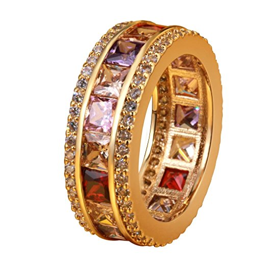 YAZILIND Gold Plated Multicolor CZ Stone Wedding Anniversary Band Rings For Women Size 7