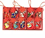 Collectibles 10pcs Chinese Handmade Cloisonne Enamel Chinese knot double Bells Ornaments Charms