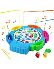 Nuheby Fish Game Fishing Toys Musical Board Game Kids Fish Toy Gift with 6 Fishing Rods for Boys Girls 3 4 5 Years Old,Blue