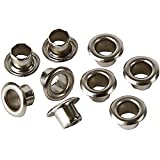 100 x 4mm Silver Eyelets Grommets with Washers for Clothes and Leather Crafts in Arts and Sewing Projects - Ideal for Bags, Scrapbooking and Cloth Repair by Trimming Shop