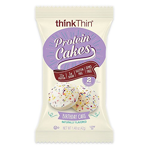 Protein Cakes by thinkThin - On The Go Snacks - 12g Protein, Low Sugar, Gluten Free, Non-GMO- Birthday Cake, 2 Cakes per Package (9 Packages)